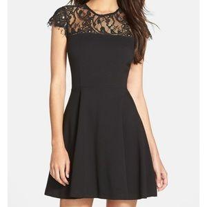 BB Dakota Black Cindy Lace Fit + Flare Dress